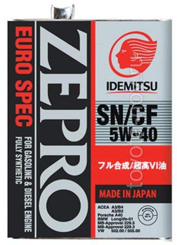 1849-004 - Масло моторное  Idemitsu  ZEPRO  EURO SPEC  5W40 SN/CF -  4 литра СИНТЕТИКА
