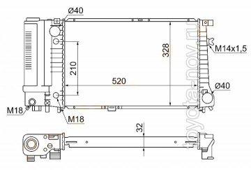 500736H - Радиатор BMW 5 E34 (1988-1995) двигателя - низкий