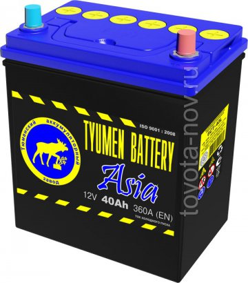 6CT-40L0-ASIA - Аккумулятор 6CT40L ASIA 360А 187x128X223 mm ASIA-стандарт обратная полярность (-+)