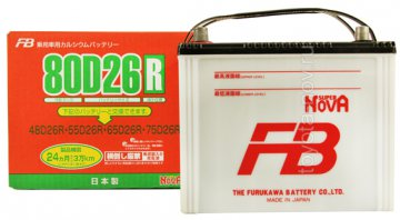 Аккумулятор FB  80D26R, JAPAN-стандарт, 68Ah 590A 260x170x220 mm (+-)